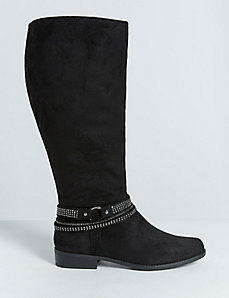 Faux Suede Stretch Riding Boot with Bling Straps