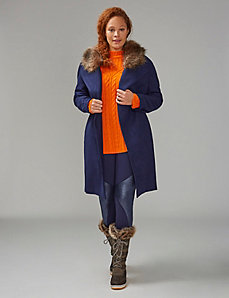Single-Button Coat with Faux Fur Collar