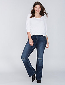 Destructed Boot Jean with Embellished Flap Pockets