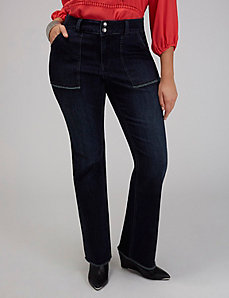Patch-Pocket Boot Jean with Frayed Hems