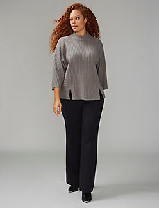 Ribbed Mock-Neck Dolman Sweater