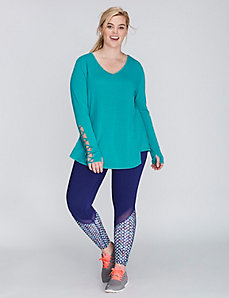 Long-Sleeve Tee with Lattice Detail by Jessica Simpson