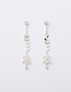 Linear Leaf Drop Earrings with CZ