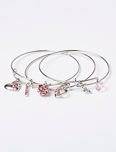 3-Row Breast Cancer Awareness Bangle Set