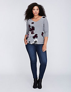 Flocked Floral Graphic Tee