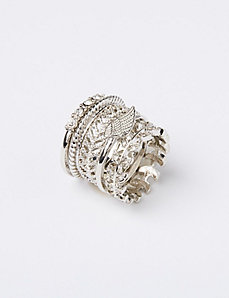 5-Row Stackable Leaf Rings