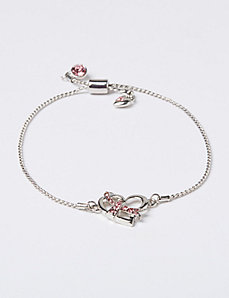 Breast Cancer Awareness Adjustable Bracelet with Pave Ribbon & Heart