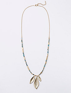 Beaded Necklace with Leaf Pendant