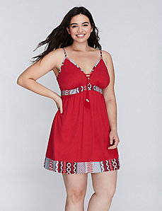 Cotton Chemise with Tassel Ties