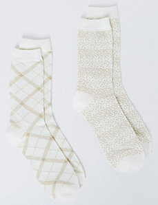 Sparkle Cream Crew Socks 2-Pack