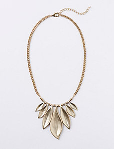 Short Metal Leaf Statement Necklace