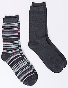 Metallic Striped Heather Gray Crew Socks 2-Pack