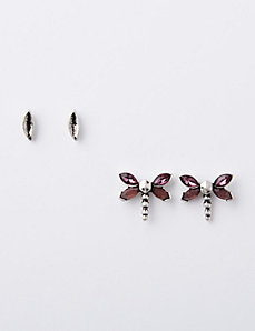 Dragonfly & Leaf Earrings Duo