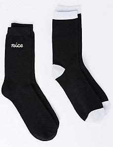 Naughty or Nice Crew Socks 2-Pack