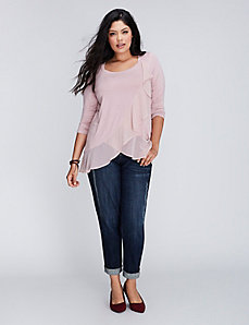 Mixed-Fabric Ruffle Tee with 3/4 Sleeves