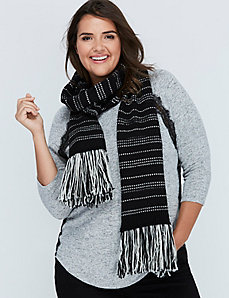 Black & White Striped Scarf with Fringe