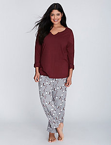 Penguins Notch-Neck Tee & Pant PJ Set