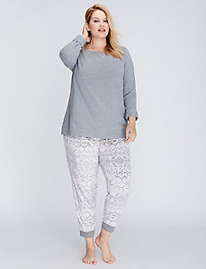 Fair Isle Long-Sleeve Tee & Fleece Pant PJ Set