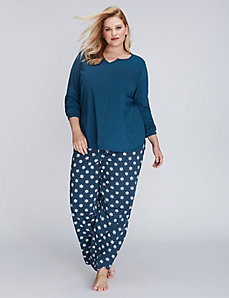 Snowflake Notch-Neck Long-Sleeve Tee & Pant PJ Set