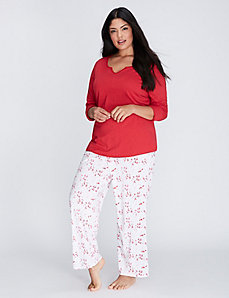 Notch-Neck Long-Sleeve Tee & Pant PJ Set - LONG