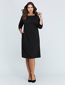 Ponte Boatneck Swing Dress
