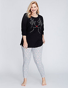 Reindeer Long-Sleeve Tee & Legging PJ Set