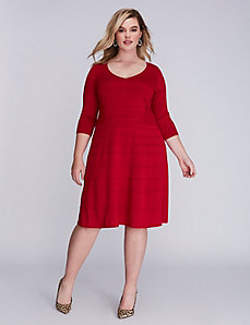 V-Neck Ottoman Sweater Dress