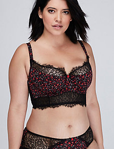 Floral Longline French Balconette Bra with Lace