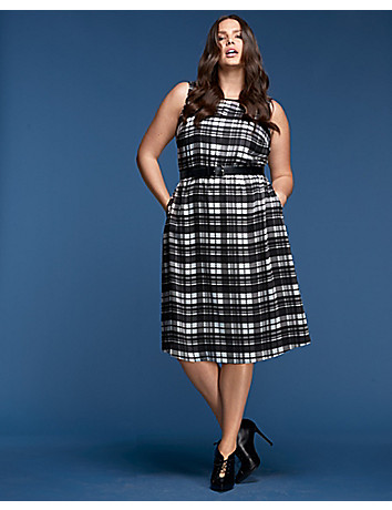 Plaid Fit Amp Flare Dress By Glamour X Lane Bryant Lane Bryant