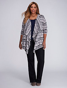 Striped Textured Drape Overpiece