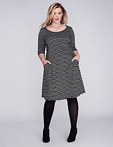 Striped Double Knit Fit & Flare Dress