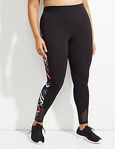 Signature Stretch Geo Print Active Legging with Mesh