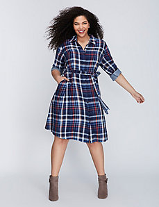 Plaid Belted Shirtdress