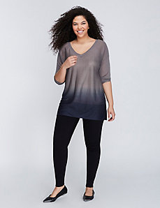 Dip-Dye V-Neck Sweater