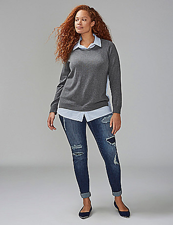 Shirt sweater combo top lane bryant for Sweater and dress shirt combo