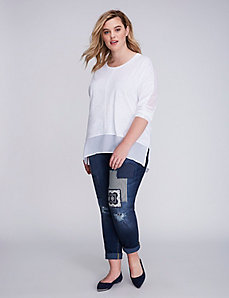 Mixed-Fabric Slub Tee