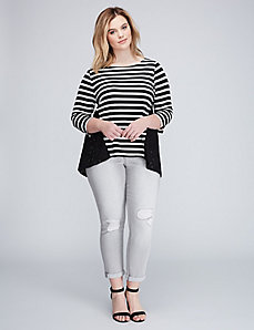 Striped Sweatshirt with Lace