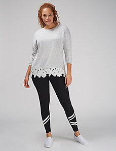 Lace-Trim Long-Sleeve Pocket Tee
