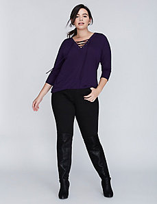 3/4 Sleeve Lace-Up Top