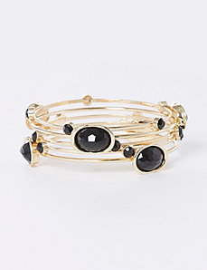 5-Row Bangle Set with Black Stones
