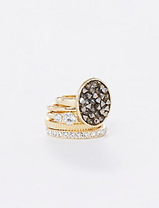 Rock Glitter 5-Stack Rings