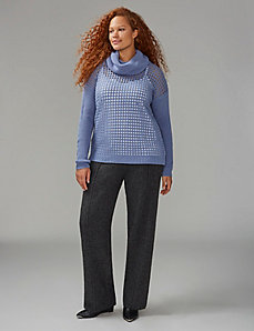 Open-Stitch Cowl-Neck Sweater
