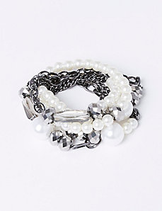 5-Row Stretch Faux Pearl Bracelet Set