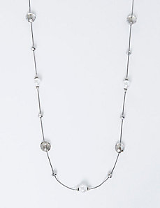 Long Faceted Stone & Faux Pearl Necklace