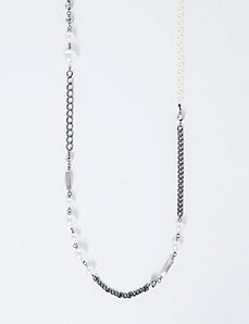 Long Chain Necklace with Faux Pearls