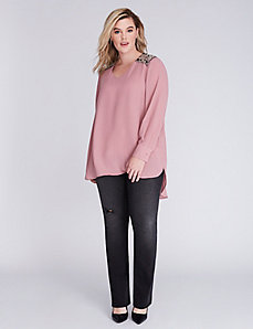 High-Low Beaded Blouse by Melissa McCarthy Seven7