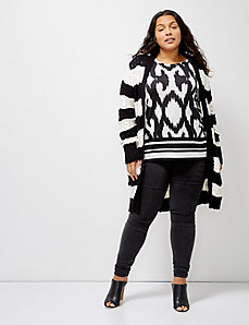 6th & Lane Striped Cable-Knit Duster