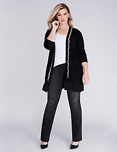 Woven-Trim Embellished Cardigan by Melissa McCarthy Seven7