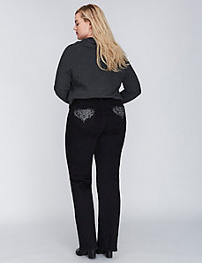 Black Boot Jean with Embellished Pockets