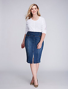 High-Waist Seamed Denim Skirt
